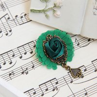 Wholesale Carnival Costumes China - Punk Gothic Lace Flower Rhinestone Beads Sweater Guard Corsage Breastpin Clip Ladies Carnival Costume Boutonniere Brooch Pins