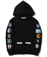 Wholesale Black Design Jackets - Off White Women Men Lovers Stripe Line Hoodie with Patches on Sleeves Fashion Cool Design Casual Jacket New Sale