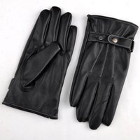 Wholesale Wholesale Leather Gloves For Men - Cool Black Leather Winter Outdoor Cycling Motorcycle Men Full Finger Touch Screen Warm Gloves For Iphone Ipad Mobile