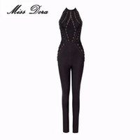 Wholesale Full Length Rings - Wholesale- Winter women Rompers 2016 sexy Bodysuit Apricot black halter Squined rings Full Length Celebrity party Bandage Jumpsuit dropsh