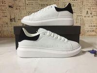 Wholesale Beige Platform Shoes - 2018 Mens Womens Fashion Luxury White Leather Black Back Platform Shoes Flat Casual Shoes Lady Black Pink Gold Women White sneakers 35-43