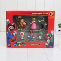 Wholesale Box 7cm High - Figure PVC Super Mario Bros 4-7cm FIGURE yoshi princess High Quality 6pcs (1set=6pcs) In Box Free Shipping
