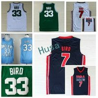 Wholesale Indiana Jersey - 1992 USA Dream Team Larry Bird Jersey 7 Throwback Indiana State Sycamores 33 Bird College Jerseys Home Green White Navy Blue Size S-3XL