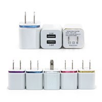 Wholesale Usb 5v 1a Eu - For Iphone 7 S8 Metal Dual USB Wall Charger 5V 2.1A 1A Travel Adapter US EU plug AC Power Adapter 2 port