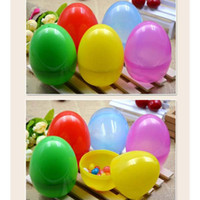 Wholesale Big Candy Boxes - 30pcs lot Colorful Easter Eggs 8X5.5cm big size mixed colors egg box holder plastic egg shape candy boxes DIY handmade toys