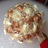 Wholesale Wedding Bouquet Silk Carnations - Elegant Wedding Bridal Bouquets Crystal Bouquet Rhinestone Brooch Holding Flowers Handmade Satin Rose Flowers High Quality Wedding Supplies