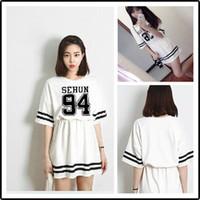 Wholesale Exo Shorts - new arrival fashion kpop exo chanyeol sehun baekhyun lay white mini dress skirt casual short sleeves korean stars