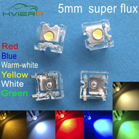 Wholesale Flux Car - Wholesale- 500pcs LED 5mm White Red Green Blue Yellow Warm-white Dome Super Flux water Clear Piranha LEDs Car lamps Light Fashion Hole Smd