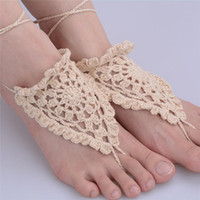 Sandali a scalzo a forma di catena Link Design Crochet sandali Sexy Foot Jewelry Anklet Toe Anello Yoga Foot Thongs Scarpe Nude