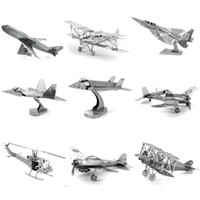 Wholesale 3d Eagle Puzzle - Free Shipping Fun 3D War aircraft vehicle plane Fokker Eagle Raptor Corsair Metal Puzzle adult models Stainless steel educational toy PT1010