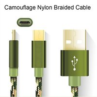 Wholesale G5 Smartphone - Camouflage Nylon Braided speed Micro USB Type-C Date Sync Charge Cable for samsung S7 edge LG g5 smartphone DHL Free CAB177