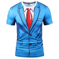 Wholesale fake two pieces jacket - 3D T shirts Hot T-shirt Men Women Fashion 3d Tshirt Print Blue Suit Jacket Summer Tops Tees Fake Two Pieces T shirt
