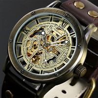 Wholesale Antique Skeleton Clocks - Wholesale- Vintage Bronze Men's Skeleton Watches Clock Male Leather Strap Antique Steampunk Casual Automatic Skeleton Mechanical Wristwatch