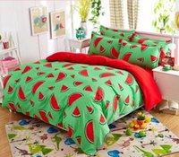 Wholesale Watermelon Bedding Set - Kids Bedding set 4pcs queen twin full king size watermelon printed bedsheet pillowcase duvet cover set bed quilt bedlinen