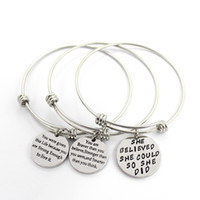 Wholesale words circle pendant - 3 Style Womens Stainless Steel Metal Bracelets Engraved Message Motivational Inspirational Words Round Charm Pendant Adjustable Bracelet