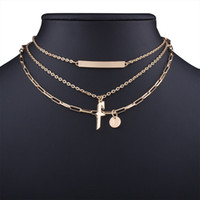 Wholesale Multi Layer Cross Necklace - Punk Cross Multi-Layer Chokers Necklaces Vintage Ethnic 2017 Elegant Gift Fashion Jewelry Statement Necklace for Women Accessories Wholesale