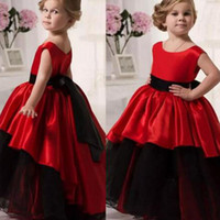 Wholesale Wedding Dress Jewels Colors - Black and red girls dresses Custom Made Colors 2017 Jewel Neck Sleeveless Princess Flowergirl Dresses with Bow Sash Gothic Wedding