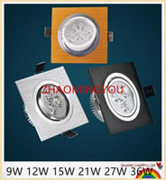 Wholesale Downlight 36w - YON 10PCS LED Down Light Square 9W 12W 15W 21W 27W 36W Led dimmable Downlight Recessed Led Ceiling Down Light Lamp Indoor AC85-265V