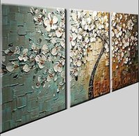 büyük soyut yağlı boya çerçeveli toptan satış-3 Adet / 1 takım Modern Soyut Büyük Sanat Yağlıboya duvar süslemeleri Tuval (yok çerçeveli)