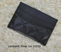 Wholesale Grey Silk Bag - 31510 famous brand Genuine lambskin   caviar Leather wallets Women classic Luxury diamond lattice 11.5*8CM card holders LE BOY BAG