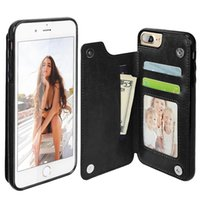Wholesale Plastic Id Cover - For iphone 6 6S Wallet Leather Case with Card Money Slots Slim Magnetic Folio ID Window Shock Absorbing Cover for iphone 7 plus