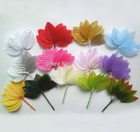 Wholesale Scrapbooking Fabric Flowers - Wholesale- Free shipping--200pcs 3 x 5cm Decorative Artificial Silk Fabric Leaves With Wire Stem For Scrapbooking DIY Flower Arrangements