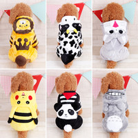 Wholesale Cow Cartoon Costume - Cute Cartoon Dog Clothes Lion Panda Cow Coral Fleece Four-Legged Dog Clothes Teddy Dog Costumes Pet Supplies 6 Sizes To Choose