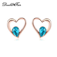 Wholesale Blue Rose Studs - Romantic Love Heart Stud Earrings Rose Gold Plated Blue Water Drop Imitation Ctystal Fashion Jewelry For Women Gift DFE318