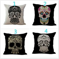 Wholesale Skull Seat Covers - 24 Styles Fashion skeleton Cotton Linen cushion cover colorful Skull Bones pattern Throw pillow cover Decorative Home Sofa car seat cover