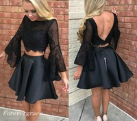 2017 Black Two Pieces Prom Vestido Lace Top Long Sleeves Férias Wear Graduation Evening Party Pageant Gown Custom Made Plus Size