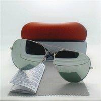 Wholesale Handsome Glasses - Classic Men Women Sunglasses High Quality Glass Lens Metal Frame Handsome Eyewear Fashion Unisex Retro Brand Designer Mirror With Case Box