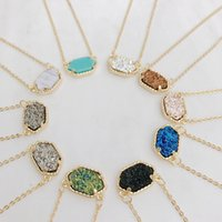 Wholesale Colors For Ladies - 2016 Hot Popular Kendra Scott Druzy Necklace Various 10 Colors Gold Plated Geometry Stone Necklaces Best for Lady Mix Colors Free Shipping