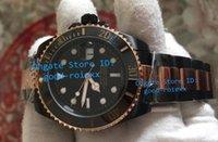 Wholesale Men Black Ceramic Bracelets - Luxury Mens Automatic 2813 Watch Men Sapphire Ceramic Black Pvd Gold Bracelet Dive Luminous Sport Calendar Watches Men's AAA Wristwatches