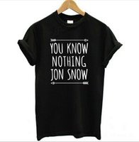 Wholesale Womens Tops Tshirts Wholesale - Wholesale- New Arrival Womens T Shirt You Know Nothing Jon Snow Top Tees Games of Thrones Tshirts Short Sleeve Casual Cotton Clothing