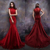 Wholesale High Necks Dresses Red - Charming Red Long Evening Dresses High Neck Short Sleeves Womens Formal Gown Dubai Style Arabic Custom Made Lace Beads Prom Dress