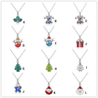 Wholesale brass bell pendants resale online - XMAS Necklaces Gift Styles Silver Jingle Bell Santa Claus Christmas Trees Snowman Reindeer Necklace Jewelry for Women
