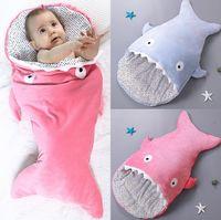 Wholesale Sleep Blankets For Infants - New Europe Infant Cute Shark Sleeping Bag For Baby 0-1 Years Old Children Cotton Plush Warm Blanket Wrap Kids Sleeping Bags