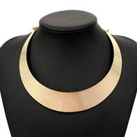 Barato Colares Prateados De Prata Para Mulheres-Punk Style Gold Silver Torque Choker Colares Para Mulheres Neck Rough Wide Collar Statement Necklace Fashion Jewelry
