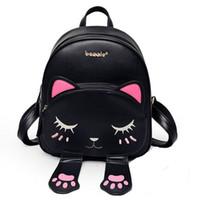 katzenschultasche rucksäcke großhandel-Katze Tasche Studenten Pu Rucksack für Jugendliche Mädchen Rucksack Schule Rucksäcke Lustige Adrette Leder Schulter Reisetasche Mochila