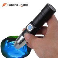 Wholesale Led Jade Torch - 365NM Portable UV LED Flashlight USB Rechargeable Black Light Gem Torch Detector for Currency, Fluorescent, Jade, Gem, Pet Urine