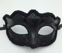 ingrosso sexy uomo mascherato sexy-Black Venice Masks Masquerade Party Mask Regalo di Natale Mardi Gras Man Costume Sexy pizzo con frange Gilter Donna Dance Mask G563