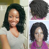 afro amerikan kısa peruklar toptan satış-Sıcak satış 1b doğal siyah renk kısa afro kinky büküm ipuçları sentetik örgülü peruk afrika amerikalılar