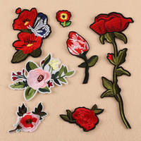 Wholesale Dress For Celebs - 10pcs Flower Stickers Embroidered Iron On Patch For Clothing Celeb Dress Jean Jacket Patches Apparel Patchwork Badge Appliqued Accessories