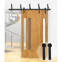 outside wood doors - 5 FT Rustic Black Sliding Bypass Door Hardware Set Classic Barn Wood American Standard Closet Fits Set For Outside Or Inside Door