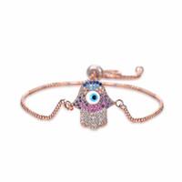 Wholesale turkish beads - Turkish Jewelry Simple Bracelet Turkey Evil Eye Copper Rhinestone Women Men Fashion Jewelry Charm Bracelets Adjustable