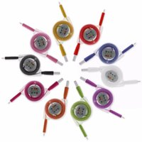Wholesale Retractable Usb Phone Cable - Colorful Retractable LED Light charger cable Micro USB Cable Sync Charging Cable Cord Wire For samsung s8 Android Phone