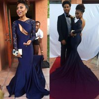 Wholesale long sleeve spandex prom dress for sale - Group buy Sexy New Navy Blue Mermaid Prom Dresses Bateau With Illusion Sheer Long Sleeves Hollow Sexy Spandex Backless Black Girl K17 Evening Gowns