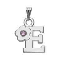Wholesale Silver E Charms Pendant - Vintage Znic Alloy Antique Silver Jewelry Pink Crystal Alphabet E With Pink Flower Charms Pendant