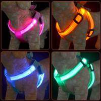Wholesale Luminous Dog Harness - 10pcs lot USB chargeable luminous LED Nylon Pet Dog harness Night Safety Flashing pet dog harnesses