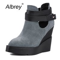 Wholesale Ladies Suede Platform Wedge Shoes - Wholesale-2016 Top Quality Fashion Motorcycle Suede Women Shoes Platform Genuine Leather Wedges Ladies Point Toe Autumn Ankle Wedge Boots